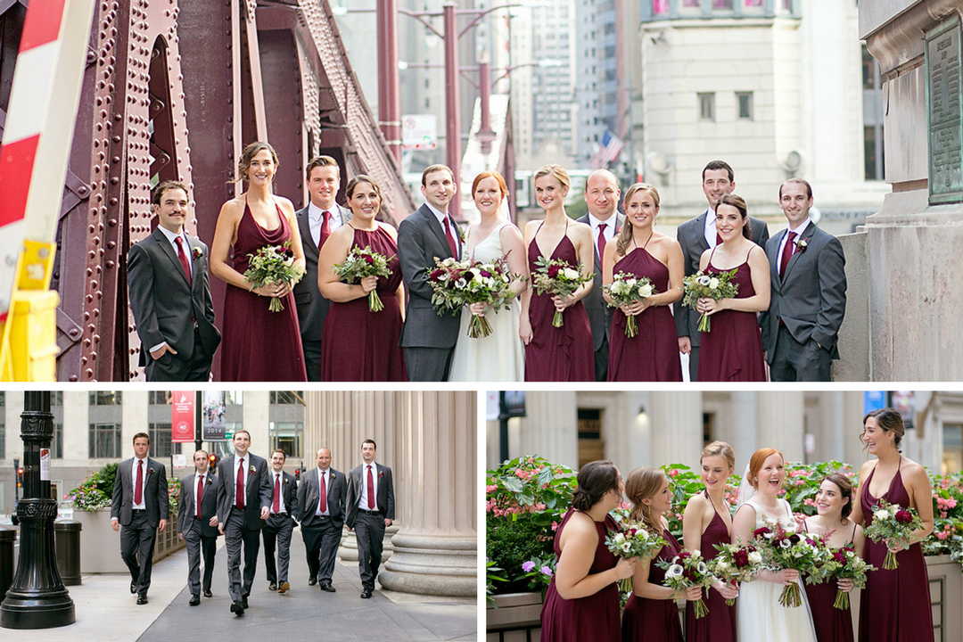 Bridal party photos at lasalle bridge